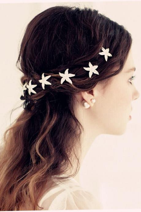 Wedding Jewelry 6 Pcs Starfish Bridal Beach Wedding Hair Pins Prom Crystal Rhinestone Hair Sticks