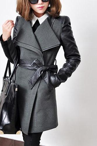 Lapel PU Leather Spliced Trench Coat