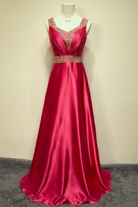 Elegant Handmade A-line Floor Length Rose Red Prom Dress with Sequins, Long Prom Dress, Prom Dresses 2015, Evening Gown