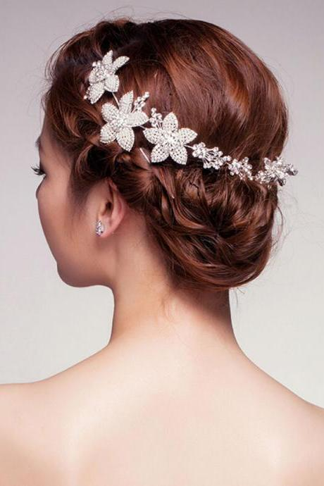 Wedding Jewelry NEW RHINESTONE CRYSTAL HAIR APPLIQUE TIARA BRIDAL WEDDING BRIDES FLOWER PEARL