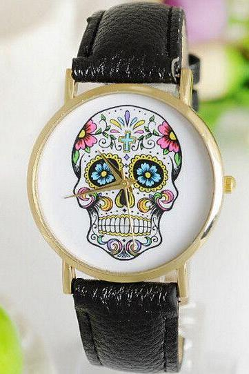 Skull head punk teenage unisex black Pu leather band watch