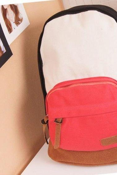 Colorful casual student red pocket girl backpack