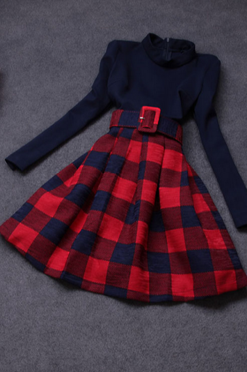 Sweet plaid long-sleeved knit dress VG121604MN