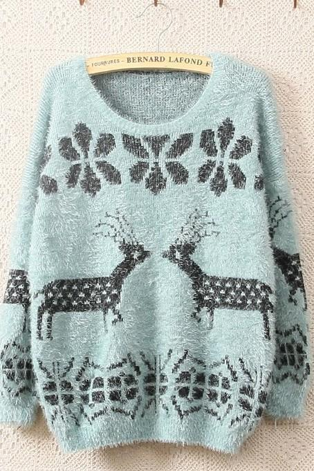 Blue Long Sleeve Ma Haimao Deer Sweater