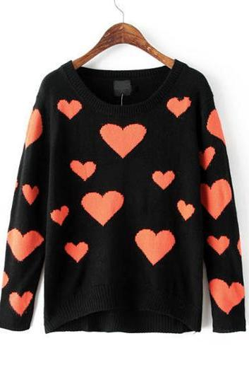 Fashion Lovely Heart Print Round Neck Long Sleeve Woman Pullovers