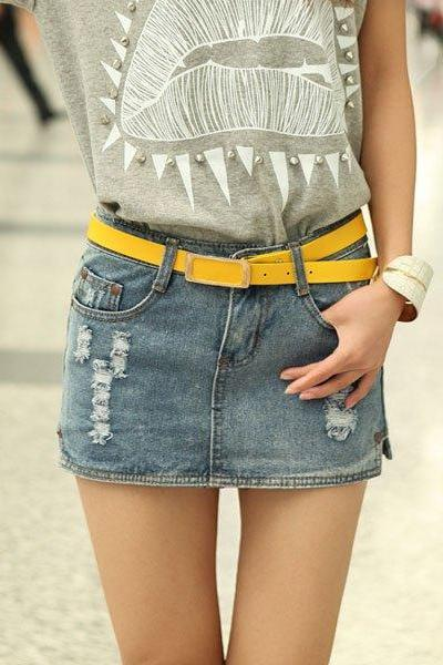 Holes Casual Slit Pocket Design Low Waist Bleach Wash Denim Skirt With Plus Size