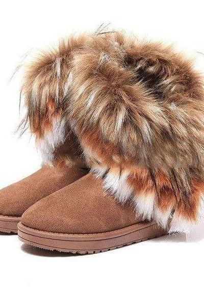 Hot Sale Autumn And Winter Snow Boots Feathers Fox Fur Flat-Bottomed Short Cotton-Padded Shoes Winter Boots