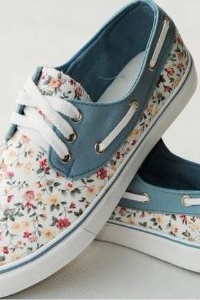 Floral Canvas Shoes For Women Printed Sneaker Flats