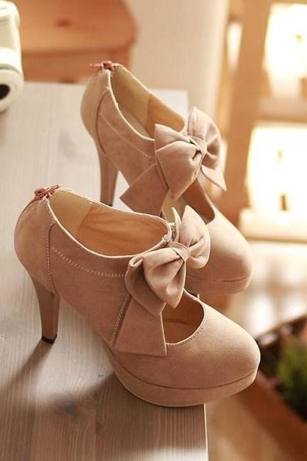Fashion Round Closed Toe Front Bow Tie Embellished Stiletto High Heels Light Tan Leather Pumps