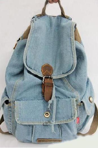 Retro light style travel woman backpack