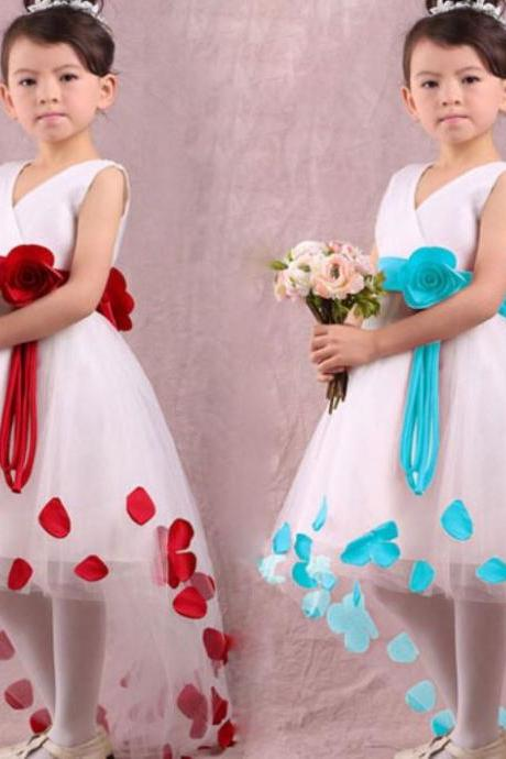 Organza Dress Petals Floral Dress Blue Girls Dress 4T,5T,6T Dress for Girls