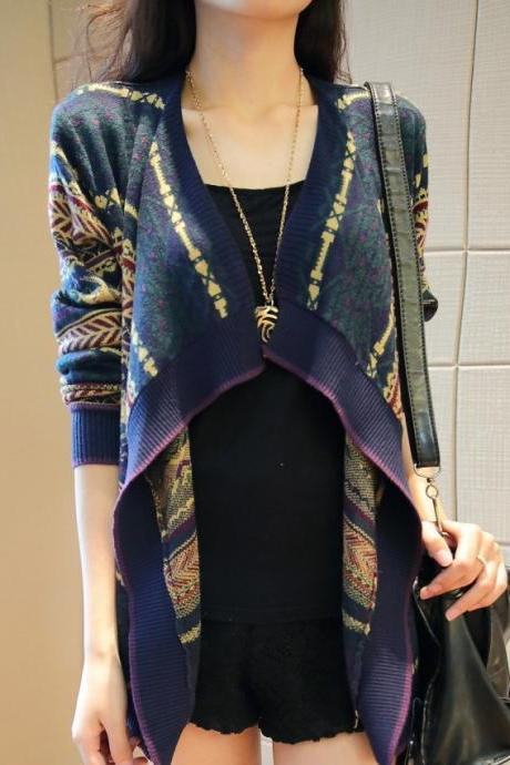 Ethnic Korean Striped Cardigan Sweater Coat Sweater Jacquard Shawl