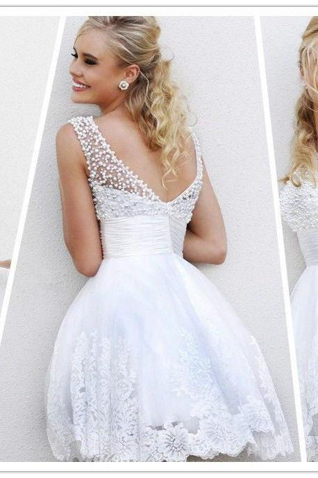 2015 Charming A Line Jewel Collar White Pearls Short Mini Party Gowns Prom Dresses Sheer Neck Homecoming Dress