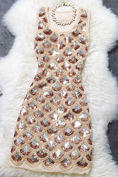 Shell Sequined Evening Dress