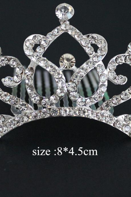 Wedding Jewelry Flower Girls Bling Crystal Crown Princess Headcomb Frozen Tiara