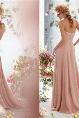 Strapless Sweetheart Ruched Beaded Chiffon Long Prom Dress, Evening Dress, Bridesmaid Dress