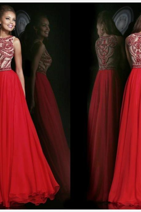 Elegant Beaded High Neck Red Chiffon Long Formal Evening Dresses Prom Party Gowns 2015 Hot Sale