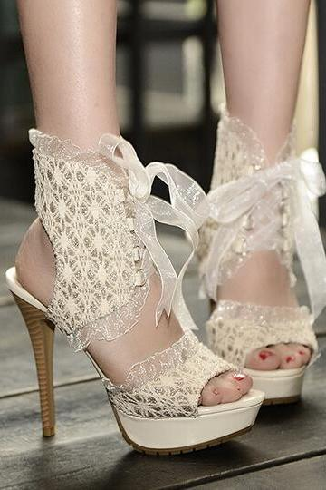 Summer Fashion Lace High-Heeled Sandals