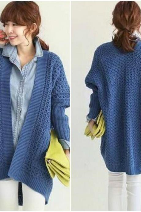 Blue Over Size Cardigan For Autumn And Winter