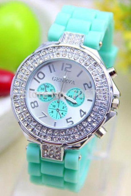 Rubber band rhinestones design unisex teen watch