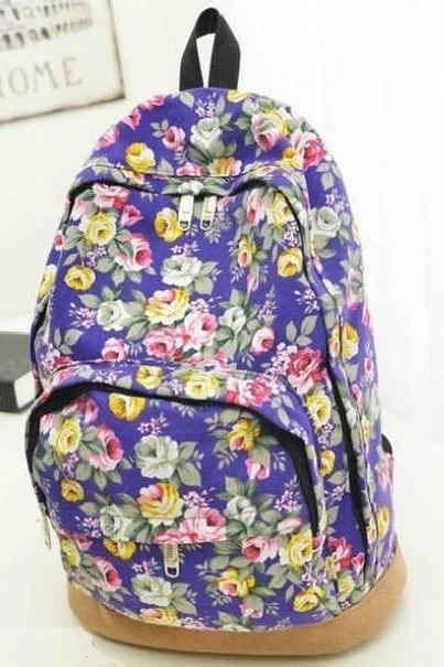 Flowers design fashion girl backpack