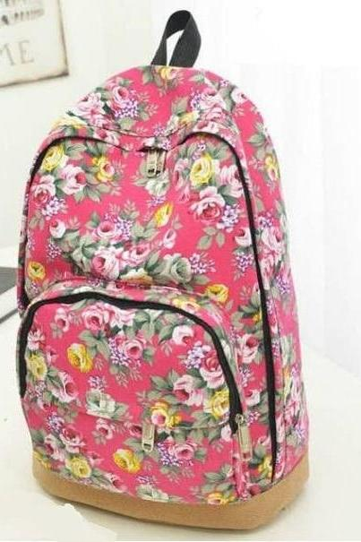 Flowers design fashion red girl backpack