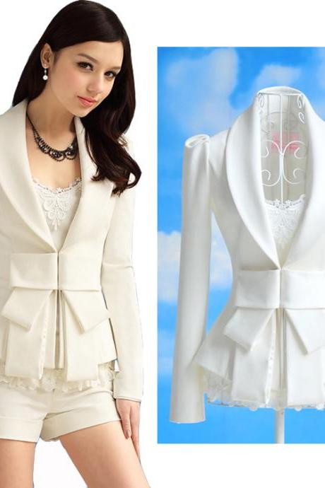 Women's Big Bowknot Career OL White Slim Suit Coats Jackets
