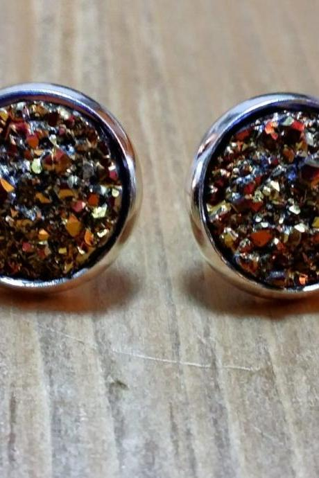 Gold-Red chunky Druzy style studs