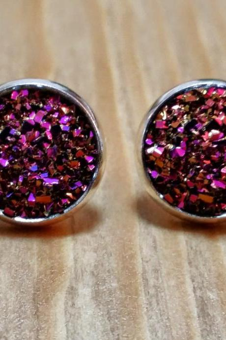 Pink-gold Druzy style studs