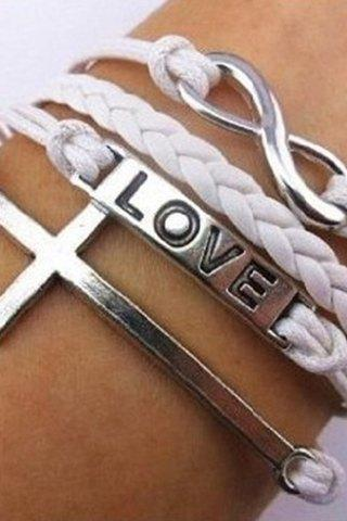 Cross and Infinity Charmed White Multi Layered Bracelet