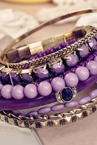7 Pieces Purple Rhinestone Embellished Stacks Bracelet