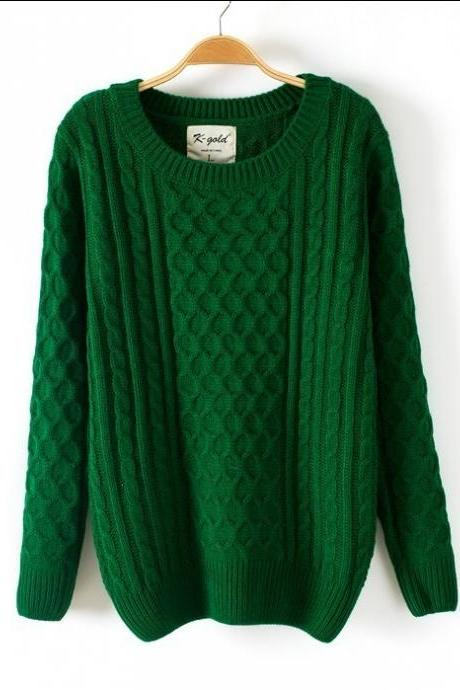 Round Collar Pure Color Ladies Pullover Sweater