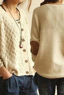 Retro Patch Sweater Cardigan Sweater
