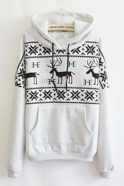 Cute Cartoon Fawn Fleece Snowflake Loose Hoodie