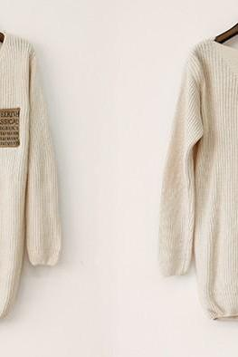Sexy Loose Beige Sweater