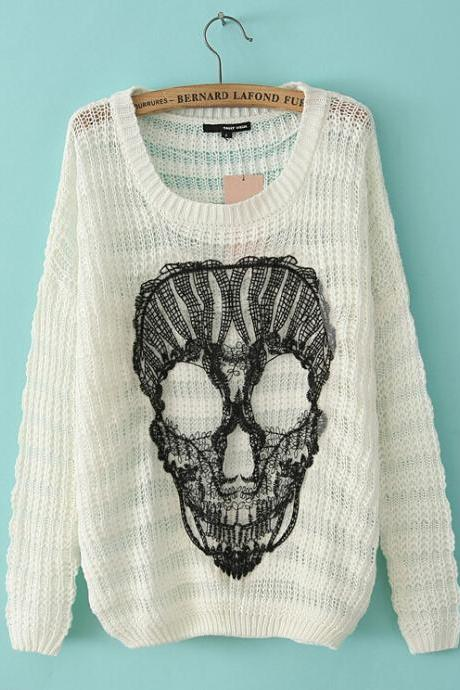 Fashion Lace Long-Sleeved Sweater Skull Pattern