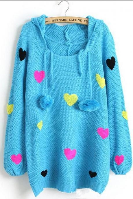 Blue Sweet Princess Color Love Double Ball Drawstring Hooded Pullover Sweater