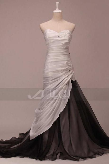 Black and White Wedding Dress Colored Wedding Dress Soft Gothic Wedding Dress Alternative Wedding Dress Available in Various Colors W787