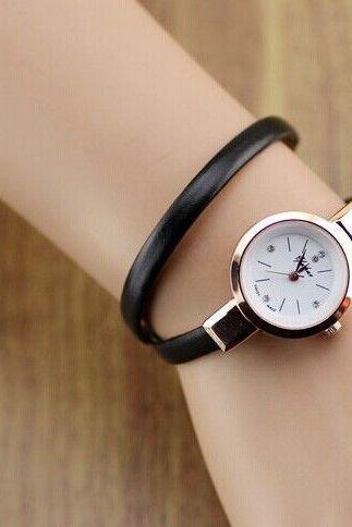 Wrap evening thin leather black band woman watch