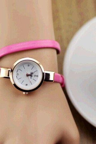 Wrap evening thin pink leather band woman watch
