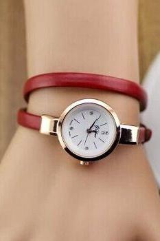 Wrap evening thin leather band woman watch
