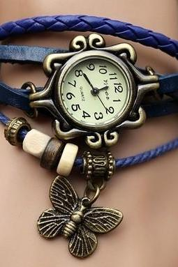 Handmade Vintage Quartz Weave Around Leather Bracelet Lady Woman Wrist Watch With Butterfly Charm Blue