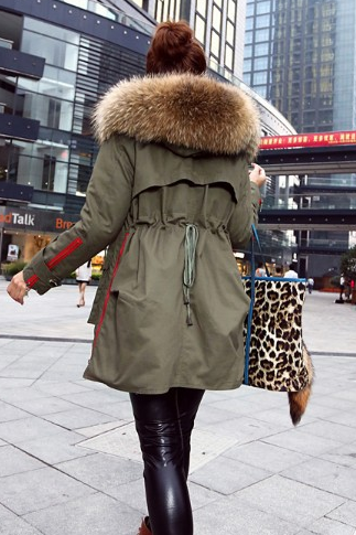 winter jacket women coats thick new 2014 winter coat women parkas army green Large raccoon fur collar hooded coat woman outwear