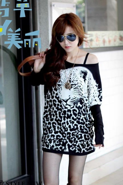 Autumn Winter dress casual spring 2014 new fashion women leopard dress loose plus size long sleeve animal print dresses vestidos