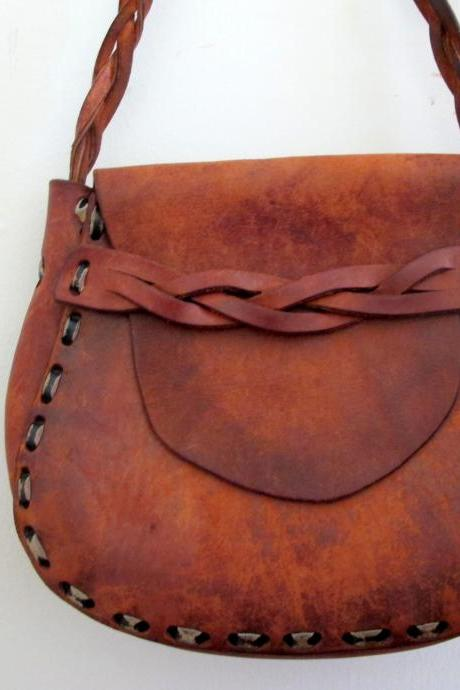 Vintage Brown Leather Mexican Tooled Purse Bag