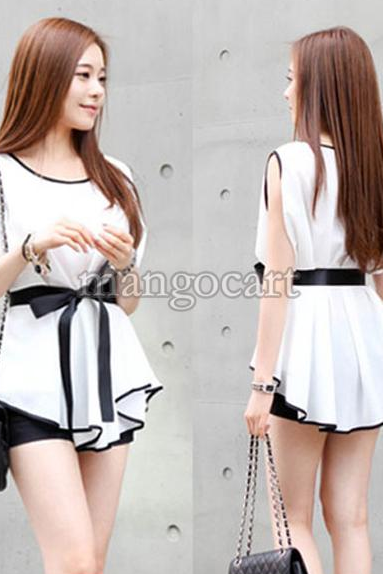 New Hot! 2014 New Arrival Fashion Summer Women Blouse Tops Irregular Sleeveless Chiffon Shirt Peplum Dress With Belt