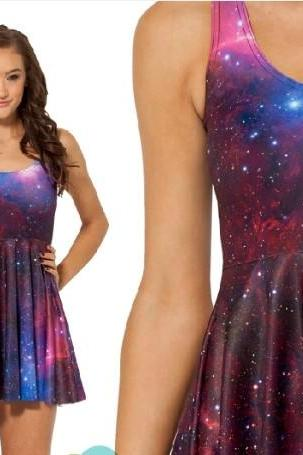 Sleeveless Galaxy Purple Skater Dress