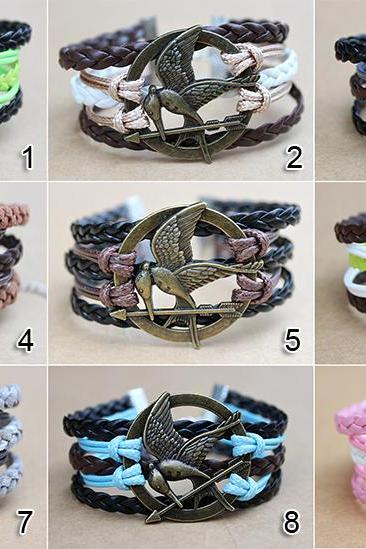 Mockingjay hunger games leather bracelet charm bracelet Christmas gifts the best choice jewelry