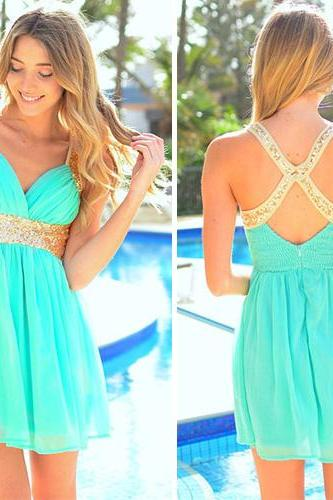 Sexy Crossover Strap Backless Deep V-Neck Sequins Chiffon Dress