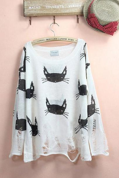 Cat Jumper Sweaters, Couture Cat Face Sweater In Grey Gardens Women Jumper Sweaters
